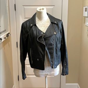 Faux Leather Grunge Jacket with tears